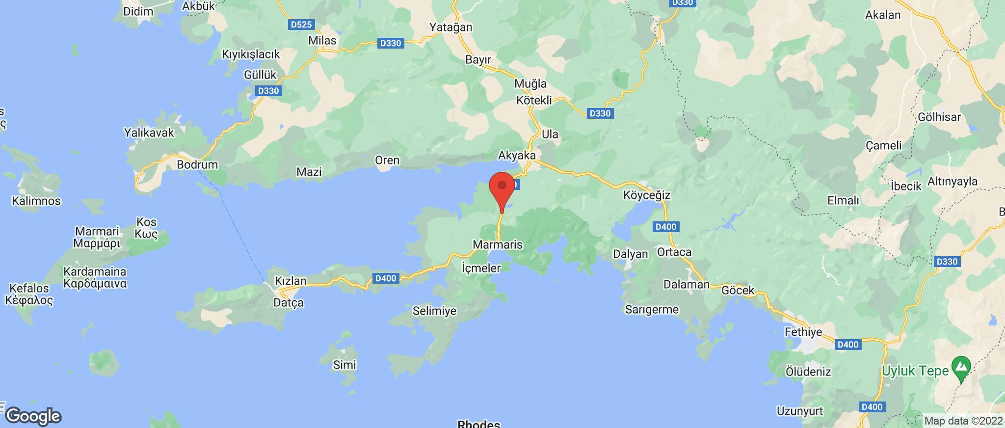 Map showing the location of Marmaris