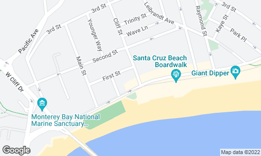 Map of Boardwalk Bowl at 115 Cliff St Santa Cruz, CA
