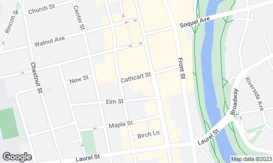 Map of Hula's island grill at 221 Cathcart St Santa Cruz, CA