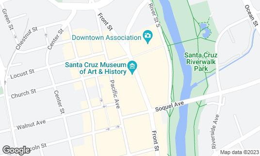 Map of Santa Cruz Museum of Art & History at the McPherson Center at 705 Front St Santa Cruz, CA