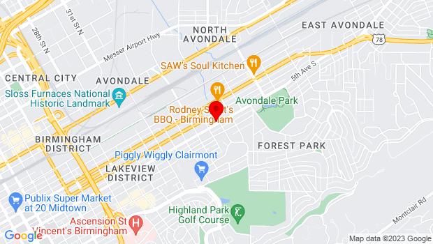 Google Map of 3624 5th Ave S, Birmingham, AL 35222