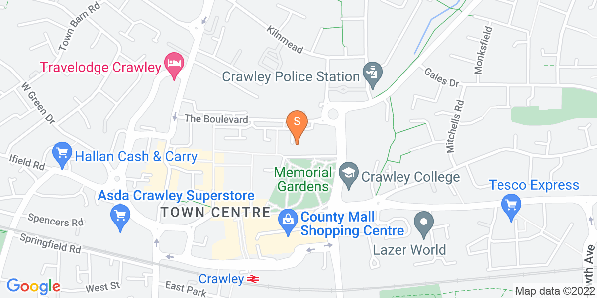 Google Map of 37-43 Queensway Crawley RH10 1EG