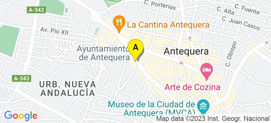 situacion en el mapa de . Direccion: C/ Ramón y Cajal, 14 1º B, 29200 Antequera. Málaga