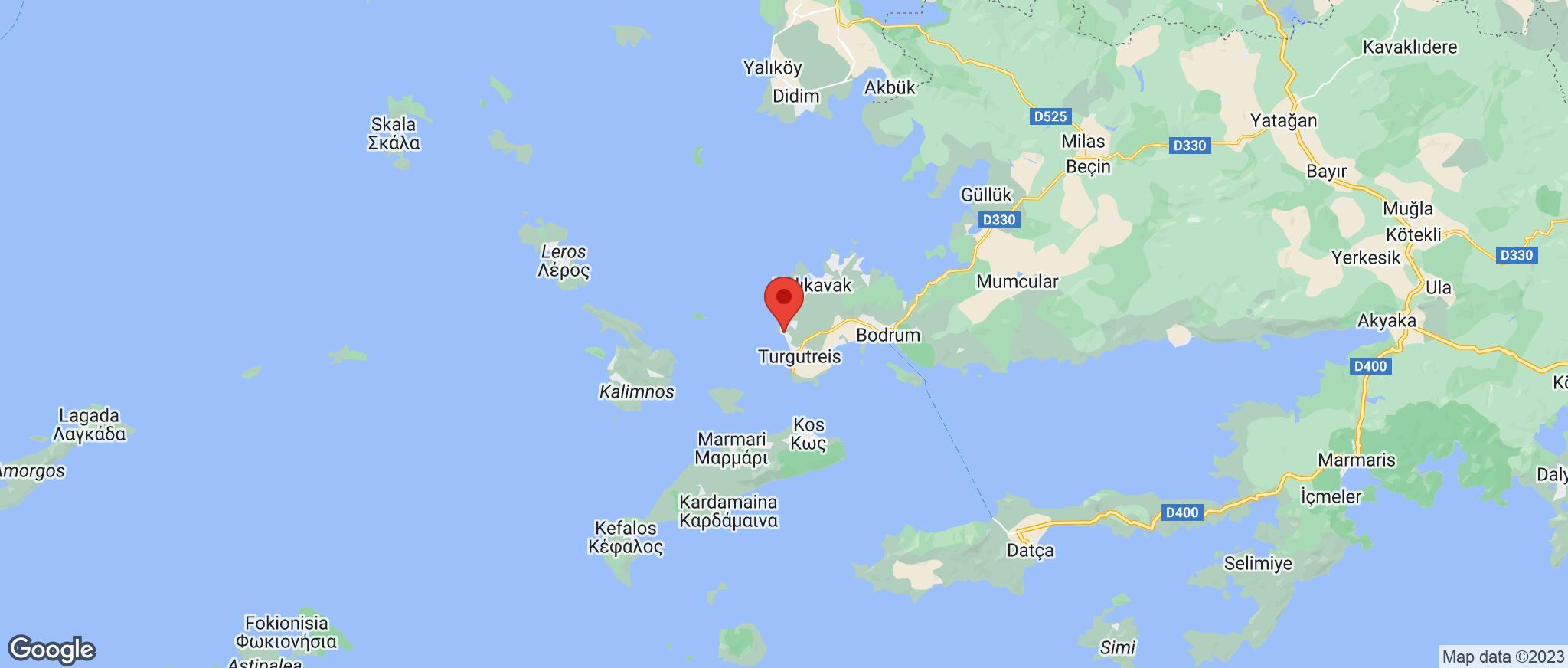 Map showing the location of Kadikalesi