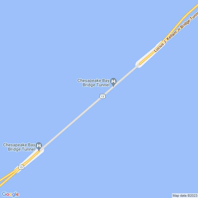 Map of Chesapeake Bay (US 13) Bridge/Tunnel