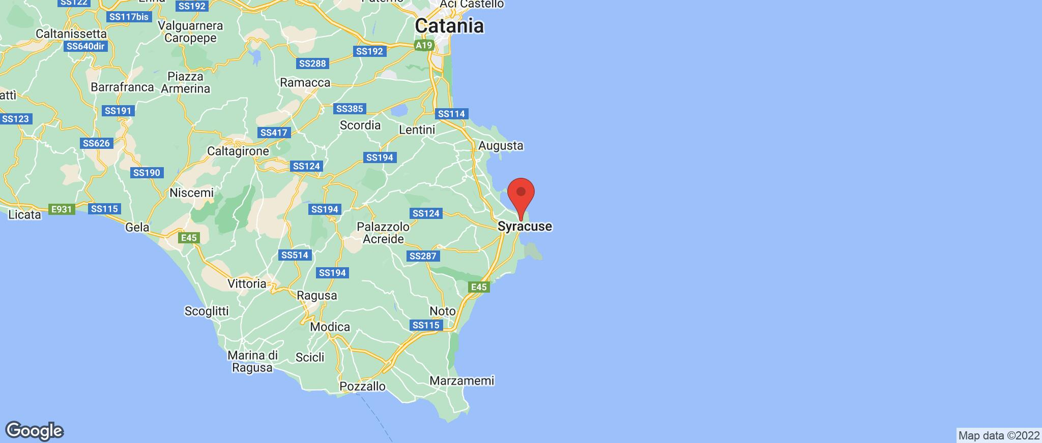 Map showing the location of Siracusa