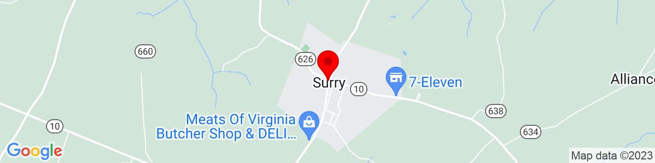 Google Map of 37.1379265, -76.8352384