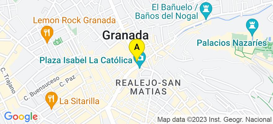 situacion en el mapa de . Direccion: PZA ISABEL LA CATOLICA, 1, 5º OFIC. 2, 18009 Granada. Granada
