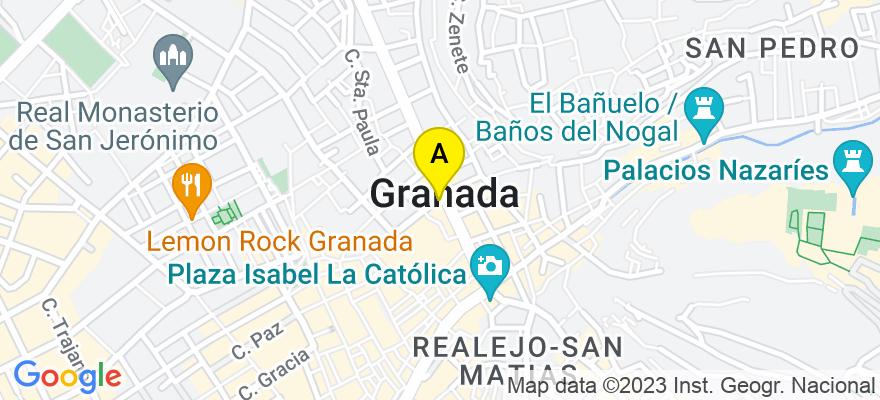 situacion en el mapa de . Direccion: Gran Vía nº33, 18001 Granada. Granada