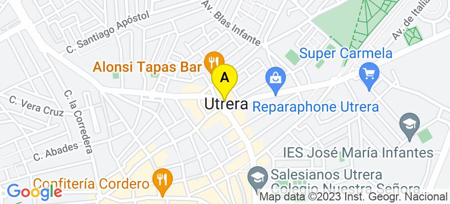 situacion en el mapa de . Direccion: Barriada San Carlos Borromeo Nº1, Local Nº2 (calle Cristobal Colón), 41710 Utrera. Sevilla