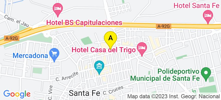 situacion en el mapa de . Direccion: Plaza las Flores 2, 1º-A, 18320 Santa Fe. Granada