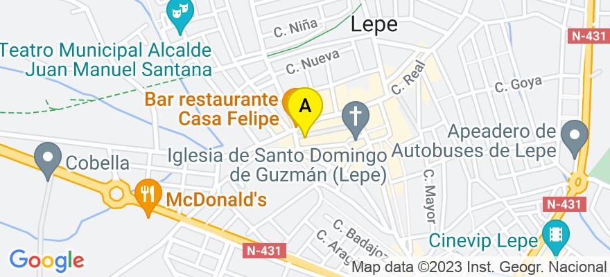 situacion en el mapa de . Direccion: C/ Rinconá 41, 21440 Lepe. Huelva