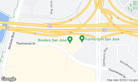 Map of Bowlmor San Jose at 5420 Thornwood Dr San Jose, CA