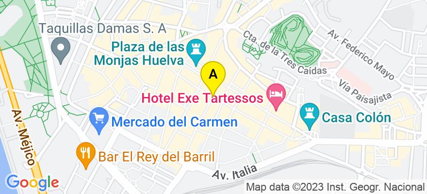 situacion en el mapa de . Direccion: C/ ARQUITECTO PÉREZ CARASA, 21001 Huelva. Huelva