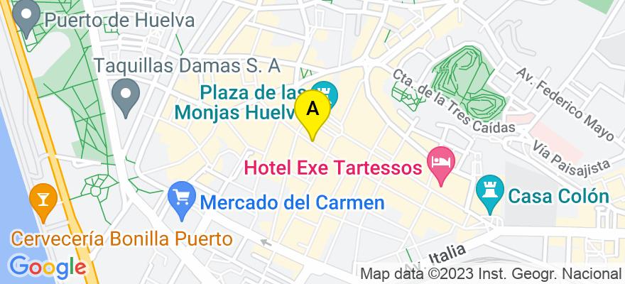situacion en el mapa de . Direccion: Calle Palacios nº 8 3º, 21003 Huelva. Huelva