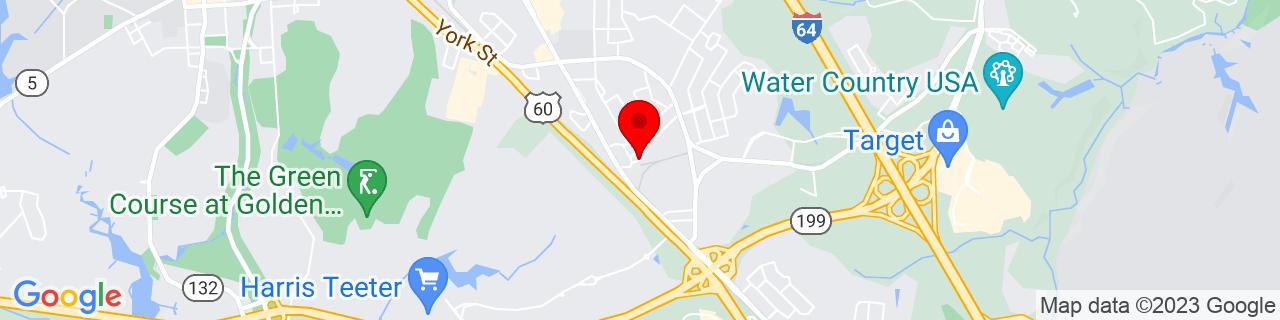 Google Map of 37.25917, -76.66833