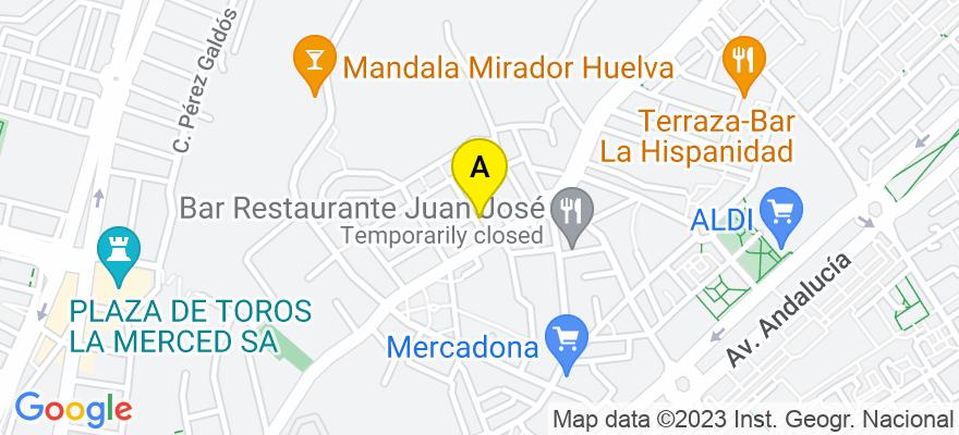 situacion en el mapa de . Direccion: c/ Málaga nº 4, 21004 Huelva. Huelva