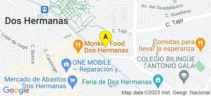 situacion en el mapa de . Direccion: c/ Doctor Leyva Rincón, nº 6, 41702 Dos Hermanas. Sevilla