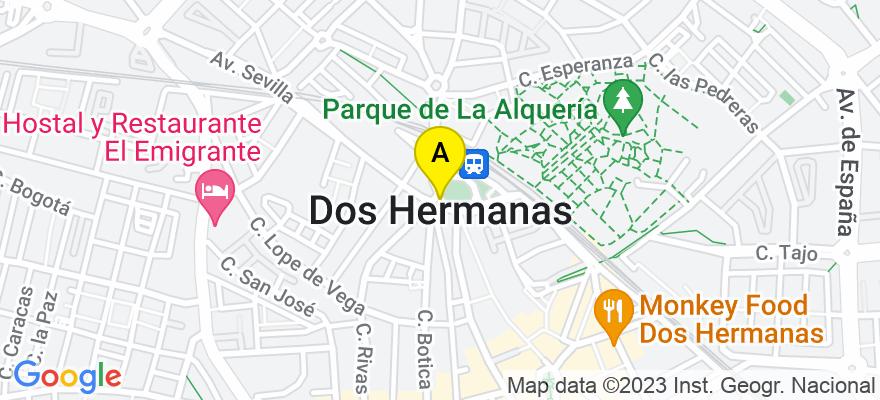 situacion en el mapa de . Direccion: Avenida de España nº 57, 2ª planta, oficina 48, Edificio San José, 41701 Dos Hermanas. Sevilla