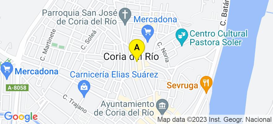 situacion en el mapa de . Direccion: Avda. Palomares, 21 local 1, 41100 Coria del Río. Sevilla