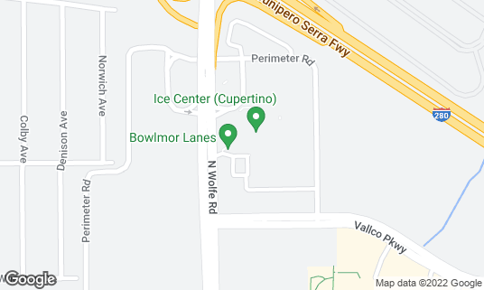 Map of Bowlmor Cupertino at 10123 N. Wolfe Rd Ste 20 Cupertino, CA