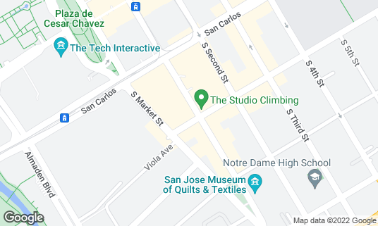 Map of Aura Kitchen + Bar at 389 S 1st St San Jose, CA
