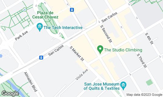 Map of California Theatre at 345 S 1st St San Jose, CA