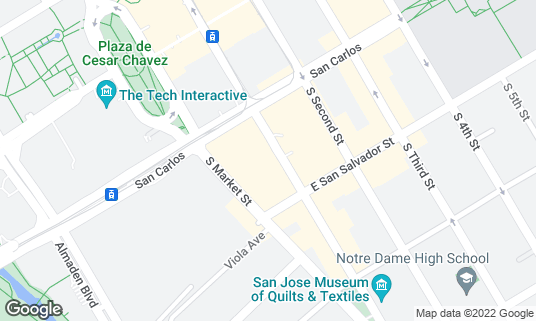Map of The Continental Bar Lounge & Patio at 349 S 1st St San Jose, CA