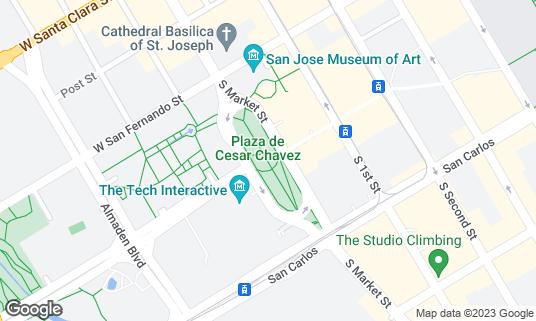 Map of Plaza de Cesar Chavez at 194 S Market St San Jose, CA