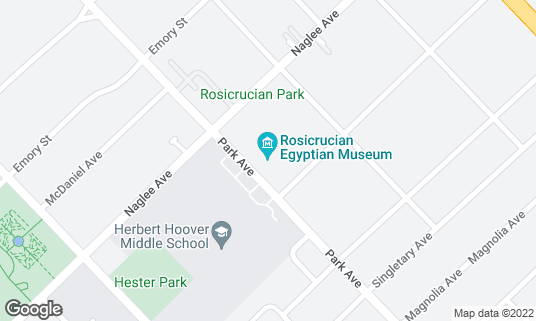 Map of Rosicrucian Egyptian Museum at 1660 Park Ave San Jose, CA