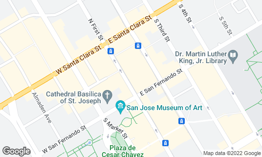 Map of Paper Plane at 72 S 1st St San Jose, CA