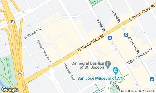 Map of La Victoria Taqueria at 131 W Santa Clara St San Jose, CA