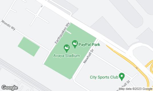 Map of Avaya Stadium at 1123 Coleman Ave San Jose, CA