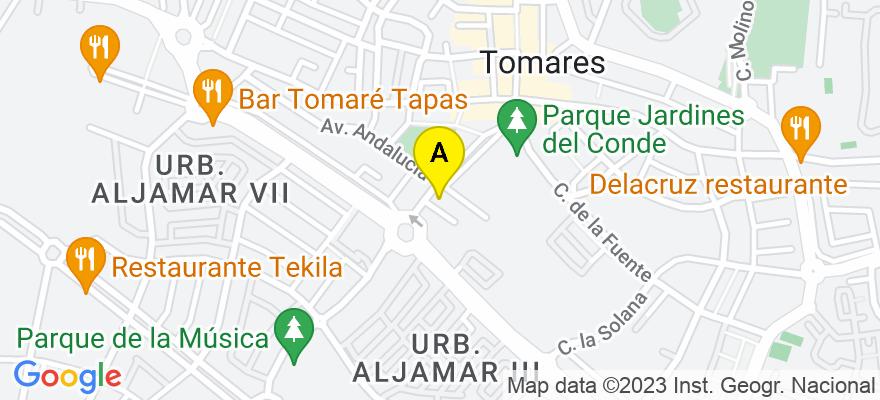 situacion en el mapa de . Direccion: Avenida Blas Infante 1, oficina 302, 41920 Tomares. Sevilla