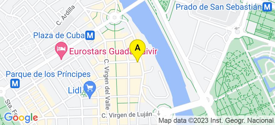 situacion en el mapa de . Direccion: C/ Virgen de Regla nº 1, Esc. A, 1º Pta. 2, 41011 Sevilla. Sevilla