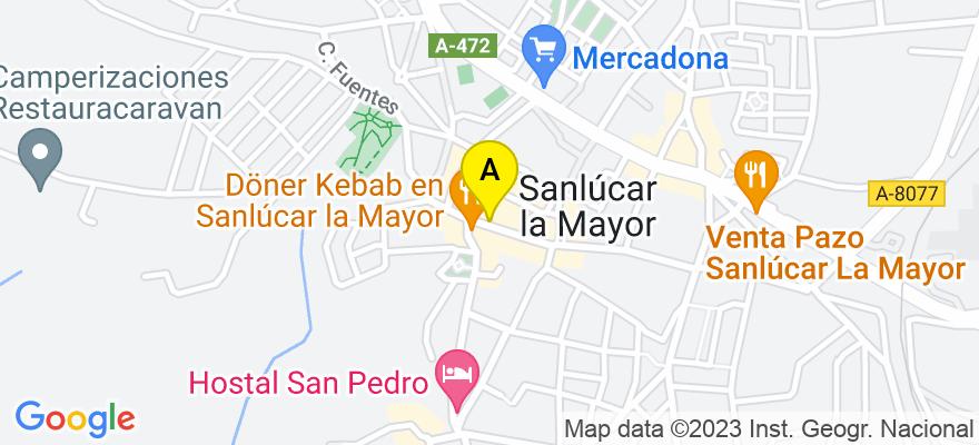 situacion en el mapa de . Direccion: c/ juan carlos I nº 14, 41800 Sanlúcar la Mayor. Sevilla