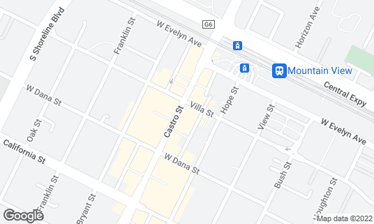 Map of Red Rock Coffee at 201 Castro St Mountain View, CA