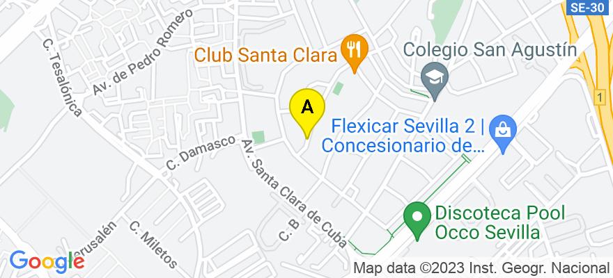 situacion en el mapa de . Direccion: C/ Alonso de Pineda Nº 26 (Santa Clara), 41007 Sevilla. Sevilla