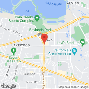Map of Taco Bell at 1109 Tasman Drive, Sunnyvale, CA 94089