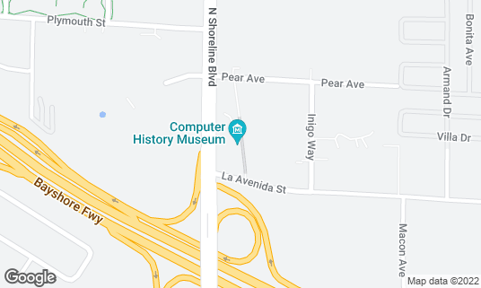 Map of Computer History Museum at 1401 N Shoreline Blvd Mountain View, CA