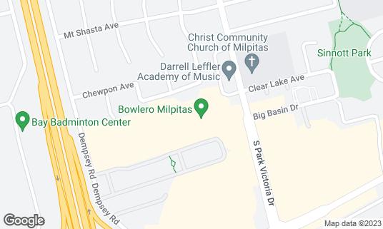 Map of Bowlero Milpitas at 1287 S Park Victoria Dr Milpitas, CA