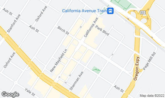 Map of Antonio's Nut House at 321 California Ave Palo Alto, CA