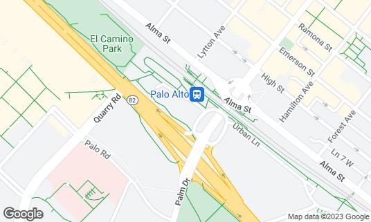 Map of MacArthur Park at 27 University Ave Palo Alto, CA