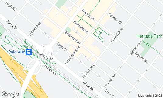 Map of Nobu Palo Alto at 180 Hamilton Ave Palo Alto, CA