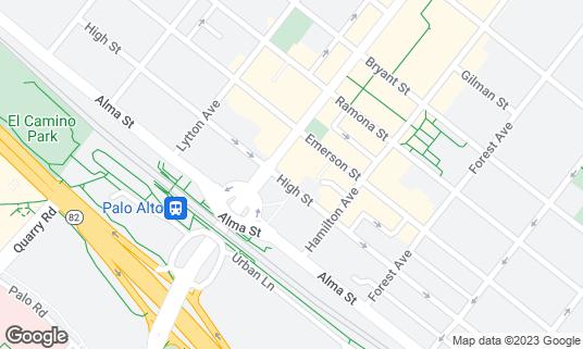 Map of Amber Dhara at 150 University Ave Palo Alto, CA