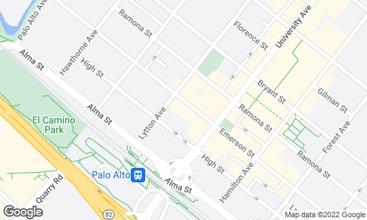 Map of Evvia Estiatorio at 420 Emerson St Palo Alto, CA