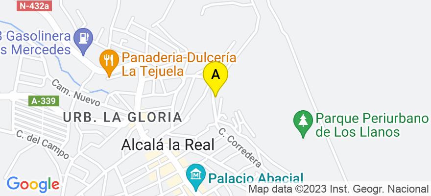situacion en el mapa de . Direccion: Angustias,2 Entrada por Arcipreste de Hita, 23680 Alcalá la Real. Jaén