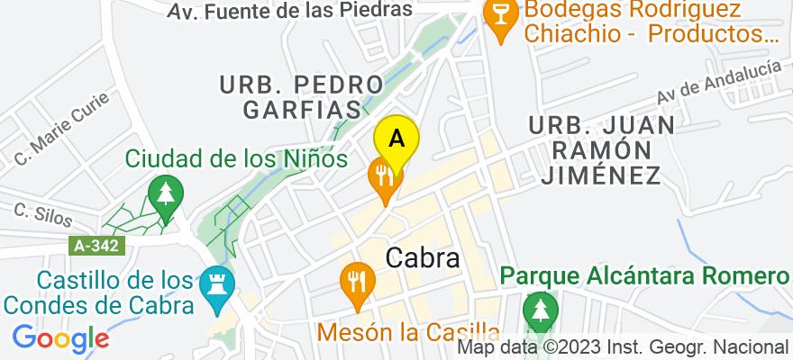 situacion en el mapa de . Direccion: Avda. José Solís, 83-1º B, 14940 Cabra. Córdoba