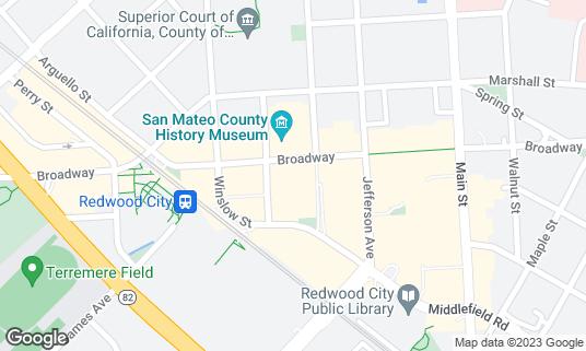 Map of Club Fox at 2209 Broadway St Redwood City, CA