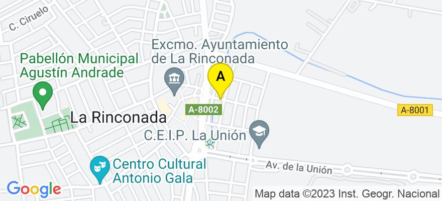 situacion en el mapa de . Direccion: Calle Rosa Chacel, 41309 La Rinconada. Sevilla